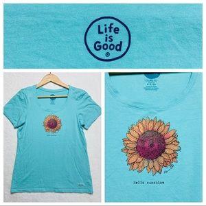 Life is Good Classic T-Shirt Green S Sunflower NEW